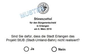 Bürgerentscheid Stimmzettel StUB